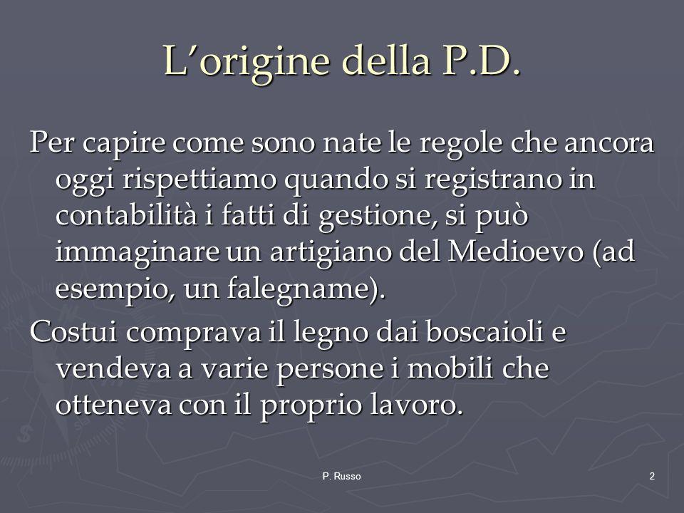 P. Russo2 Lorigine della P.D. Per capire come sono nate le regole che ancora oggi rispettiamo quando si registrano in contabilità i fatti di gestione,
