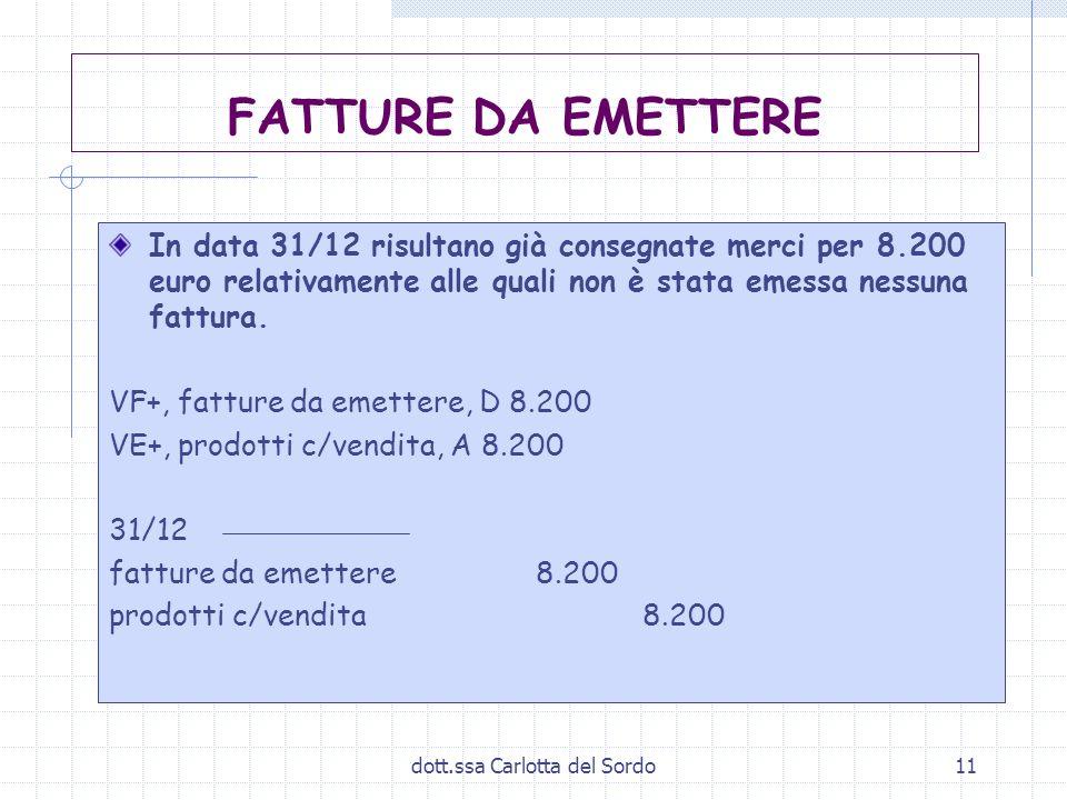 dott.ssa Carlotta del Sordo11 FATTURE DA EMETTERE In data 31/12 risultano già consegnate merci per 8.200 euro relativamente alle quali non è stata eme