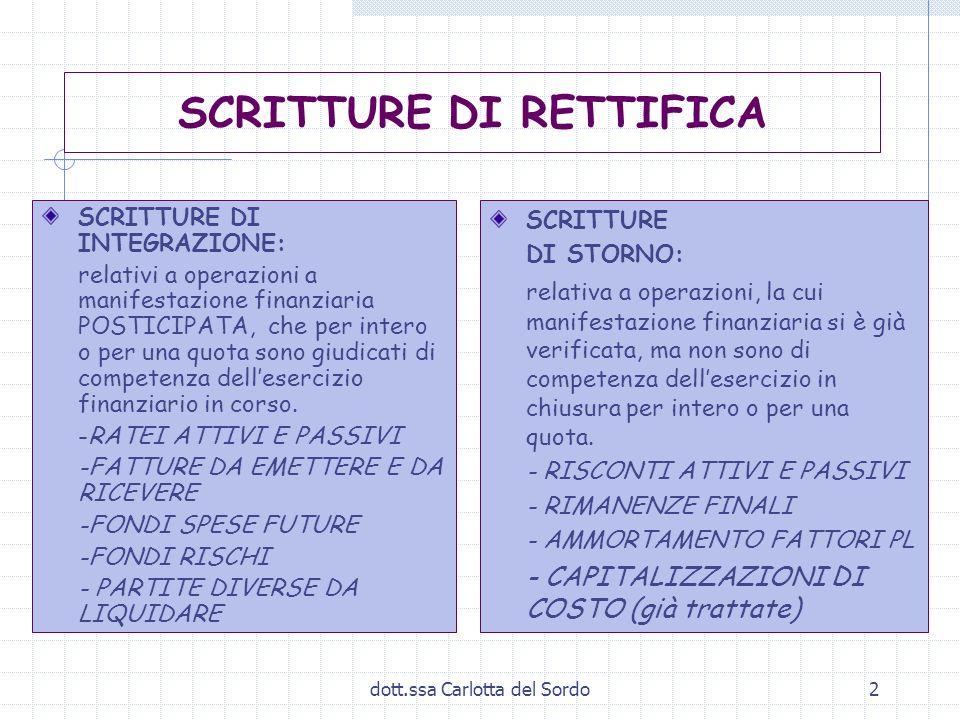 dott.ssa Carlotta del Sordo2 SCRITTURE DI RETTIFICA SCRITTURE DI INTEGRAZIONE: relativi a operazioni a manifestazione finanziaria POSTICIPATA, che per