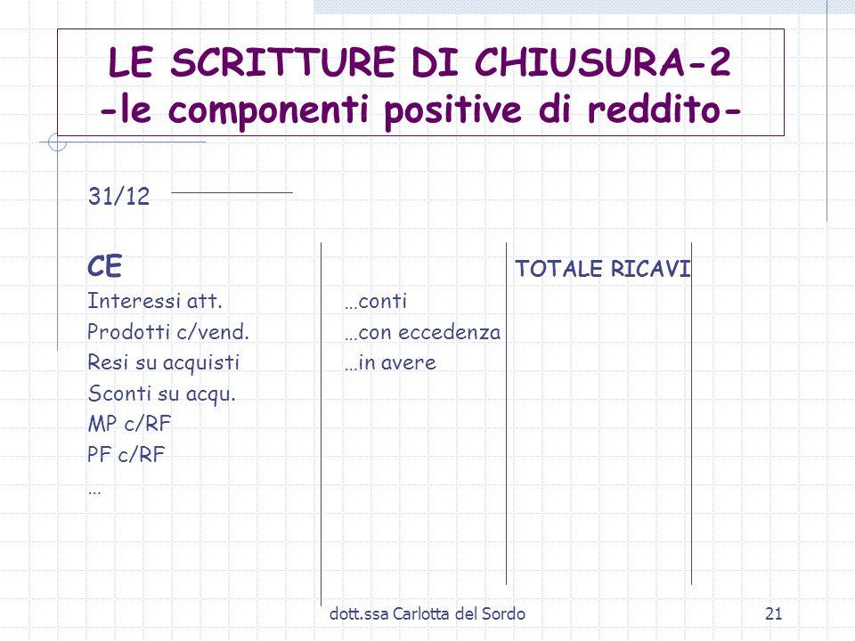 dott.ssa Carlotta del Sordo21 LE SCRITTURE DI CHIUSURA-2 -le componenti positive di reddito- 31/12 CE TOTALE RICAVI Interessi att. …conti Prodotti c/v