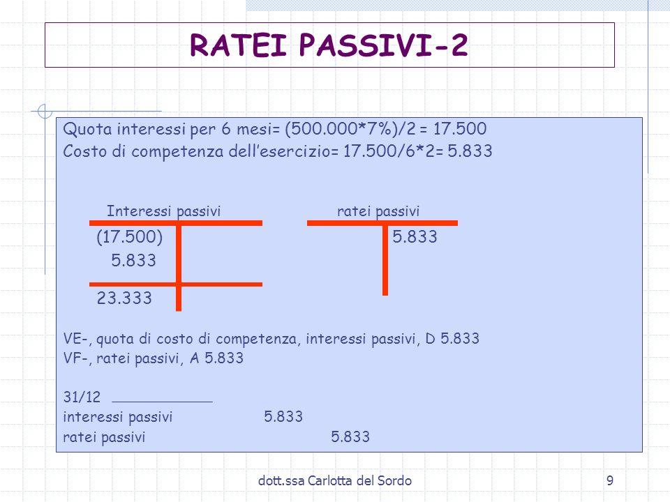 dott.ssa Carlotta del Sordo9 Quota interessi per 6 mesi= (500.000*7%)/2 = 17.500 Costo di competenza dellesercizio= 17.500/6*2= 5.833 Interessi passiv