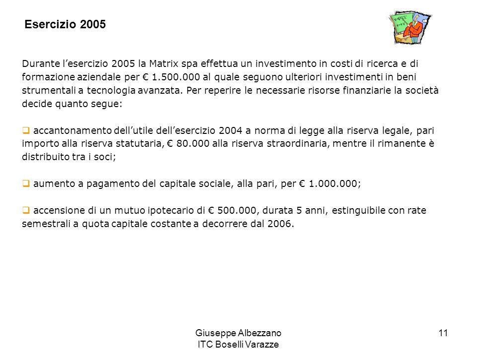 Giuseppe Albezzano ITC Boselli Varazze 11 Esercizio 2005 Durante lesercizio 2005 la Matrix spa effettua un investimento in costi di ricerca e di forma