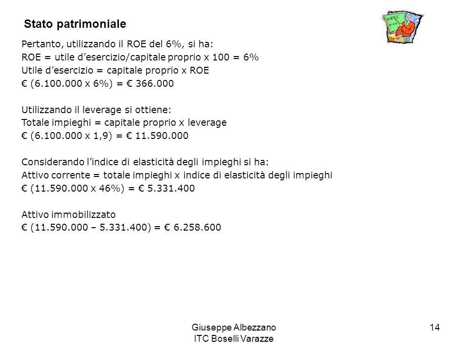 Giuseppe Albezzano ITC Boselli Varazze 14 Stato patrimoniale Pertanto, utilizzando il ROE del 6%, si ha: ROE = utile desercizio/capitale proprio x 100