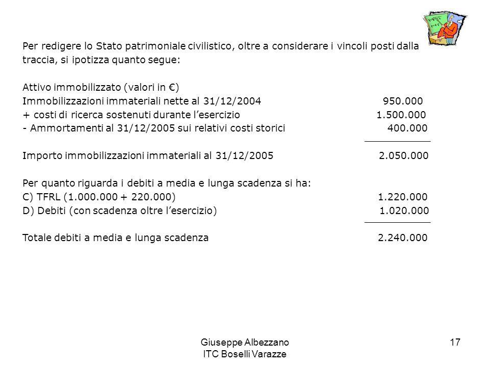 Giuseppe Albezzano ITC Boselli Varazze 17 Per redigere lo Stato patrimoniale civilistico, oltre a considerare i vincoli posti dalla traccia, si ipotiz