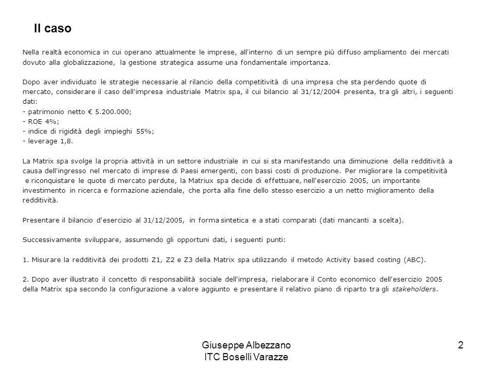 Giuseppe Albezzano ITC Boselli Varazze 2 Nella realtà economica in cui operano attualmente le imprese, all'interno di un sempre più diffuso ampliament