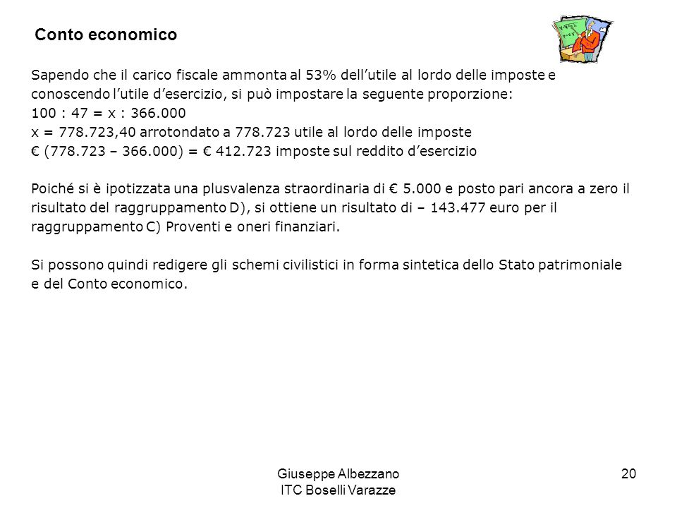 Giuseppe Albezzano ITC Boselli Varazze 20 Conto economico Sapendo che il carico fiscale ammonta al 53% dellutile al lordo delle imposte e conoscendo l