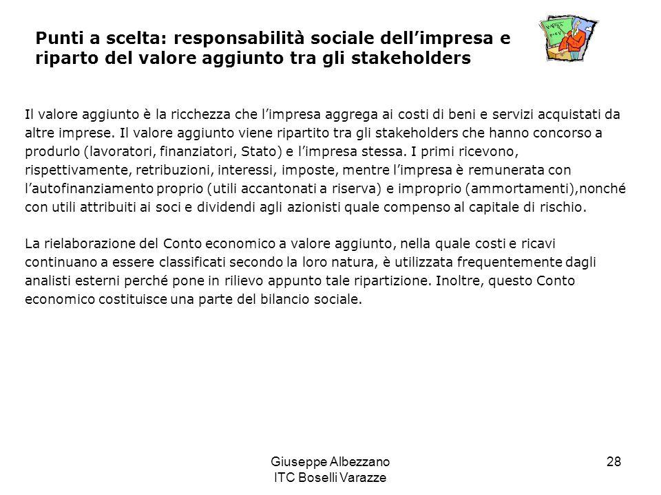 Giuseppe Albezzano ITC Boselli Varazze 28 Punti a scelta: responsabilità sociale dellimpresa e riparto del valore aggiunto tra gli stakeholders Il val