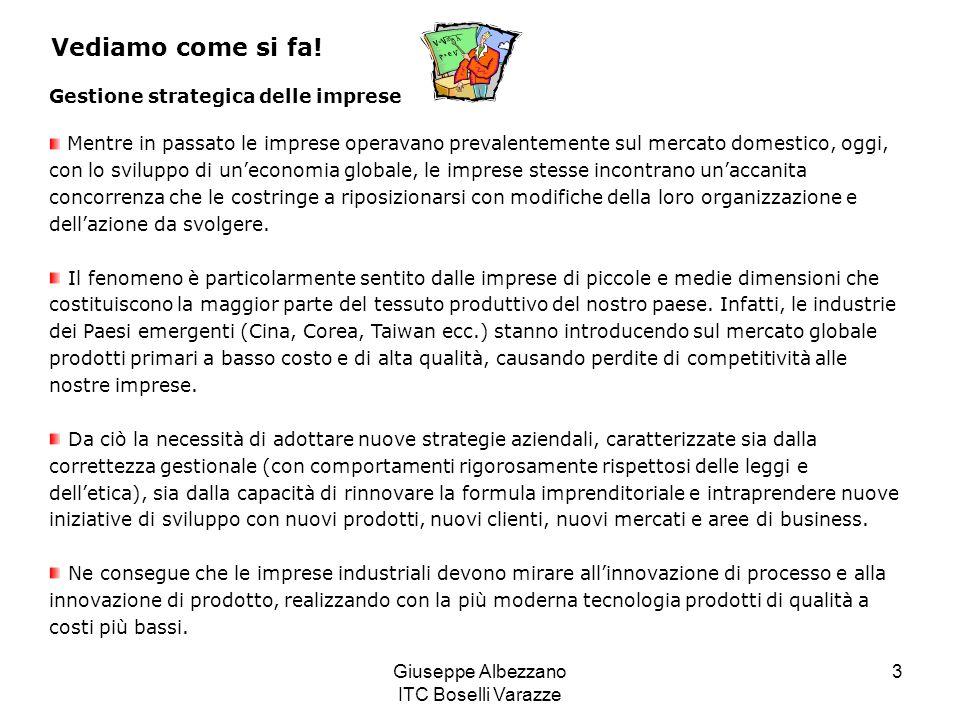 Giuseppe Albezzano ITC Boselli Varazze 3 Vediamo come si fa! Gestione strategica delle imprese Mentre in passato le imprese operavano prevalentemente