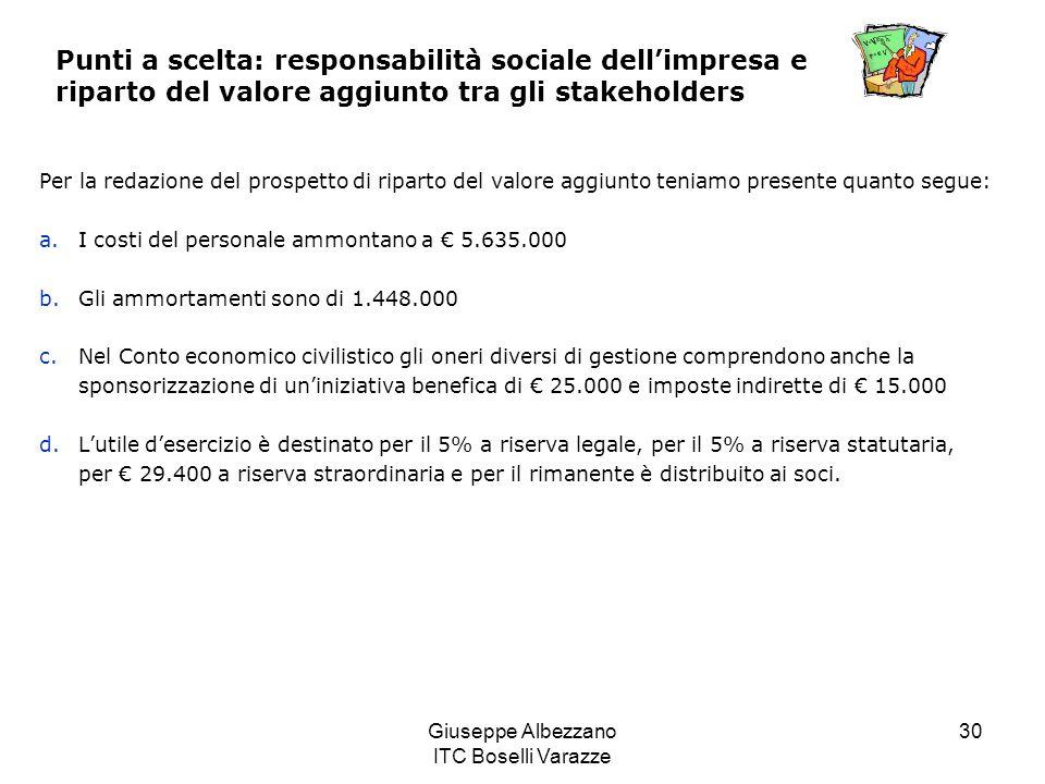Giuseppe Albezzano ITC Boselli Varazze 30 Punti a scelta: responsabilità sociale dellimpresa e riparto del valore aggiunto tra gli stakeholders Per la