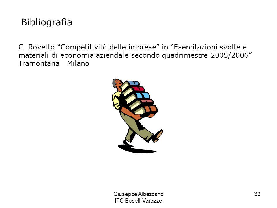 Giuseppe Albezzano ITC Boselli Varazze 33 Bibliografia C. Rovetto Competitività delle imprese in Esercitazioni svolte e materiali di economia aziendal