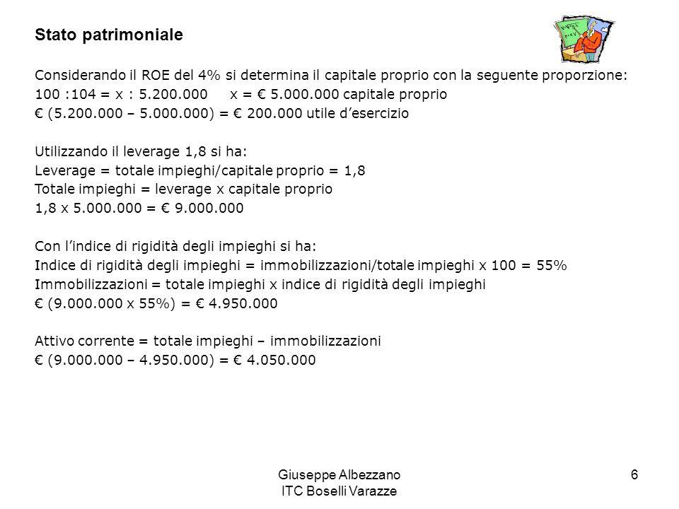 Giuseppe Albezzano ITC Boselli Varazze 6 Stato patrimoniale Considerando il ROE del 4% si determina il capitale proprio con la seguente proporzione: 1