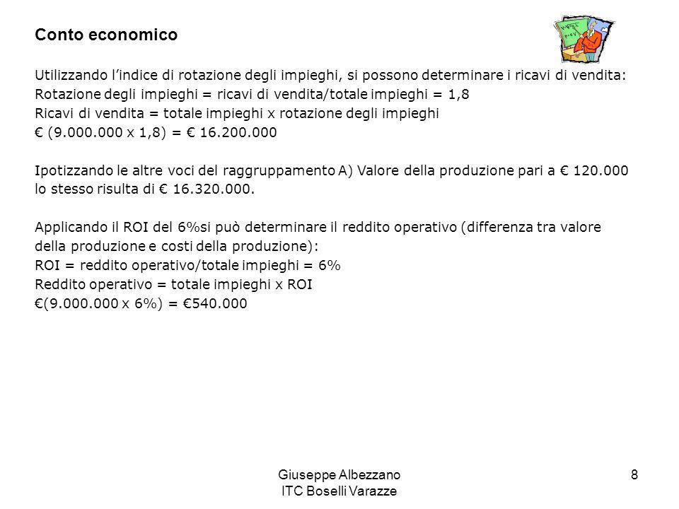 Giuseppe Albezzano ITC Boselli Varazze 8 Conto economico Utilizzando lindice di rotazione degli impieghi, si possono determinare i ricavi di vendita: