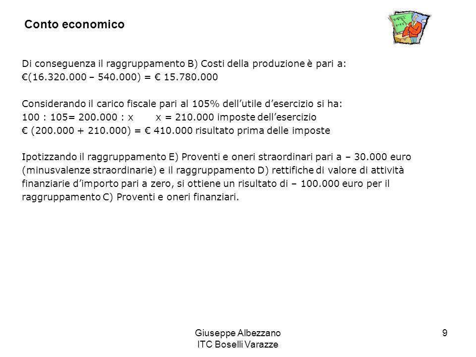 Giuseppe Albezzano ITC Boselli Varazze 9 Conto economico Di conseguenza il raggruppamento B) Costi della produzione è pari a: (16.320.000 – 540.000) =