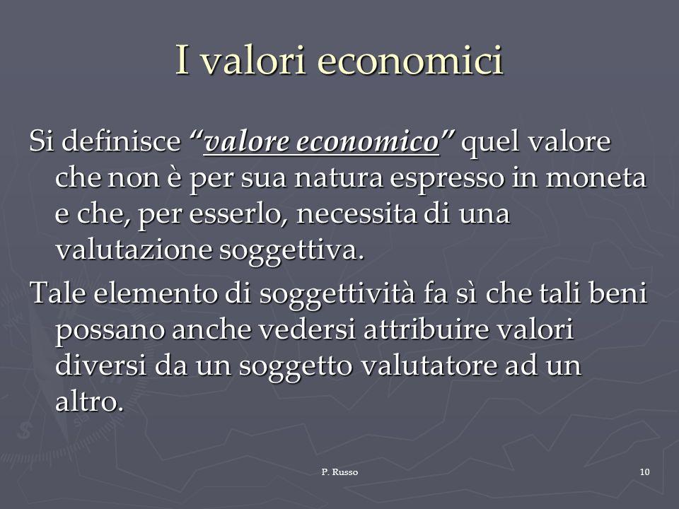 P. Russo10 I valori economici Si definisce valore economico quel valore che non è per sua natura espresso in moneta e che, per esserlo, necessita di u
