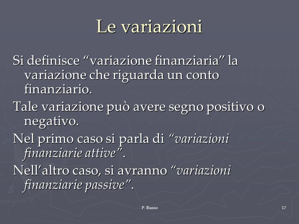 P. Russo17 Le variazioni Si definisce variazione finanziaria la variazione che riguarda un conto finanziario. Tale variazione può avere segno positivo