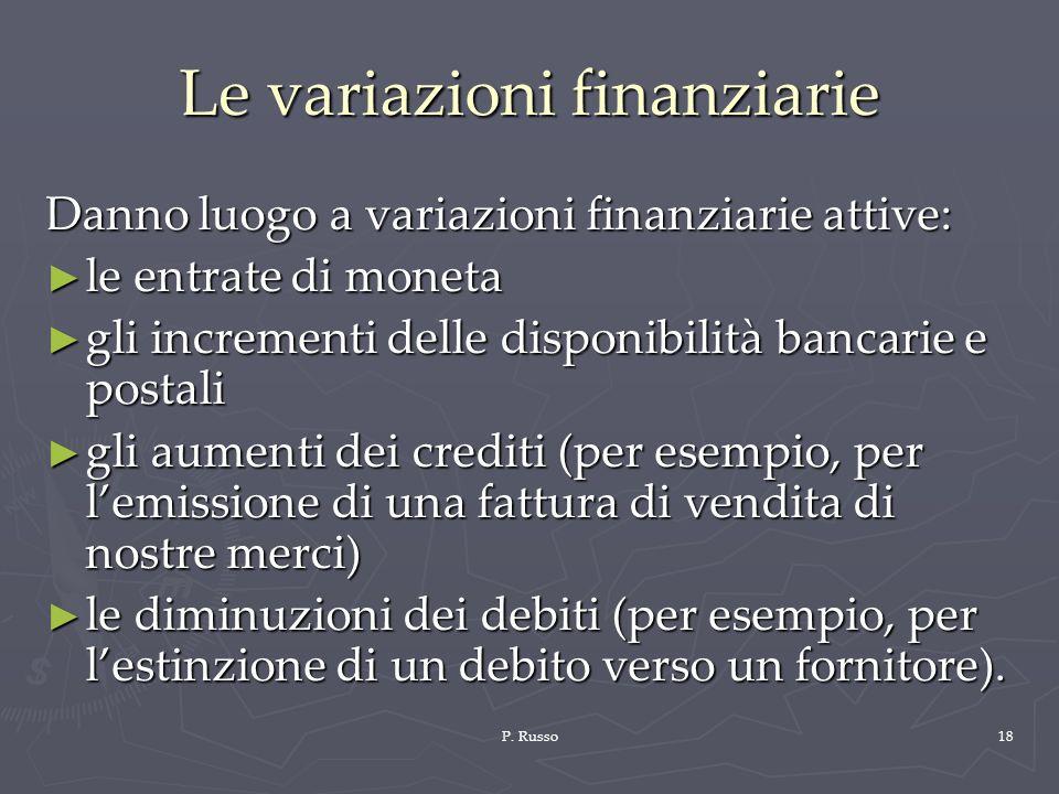 P. Russo18 Le variazioni finanziarie Danno luogo a variazioni finanziarie attive: le entrate di moneta le entrate di moneta gli incrementi delle dispo