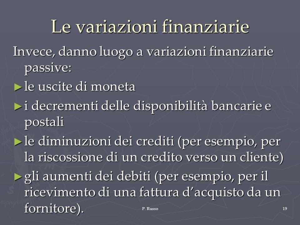 P. Russo19 Le variazioni finanziarie Invece, danno luogo a variazioni finanziarie passive: le uscite di moneta le uscite di moneta i decrementi delle