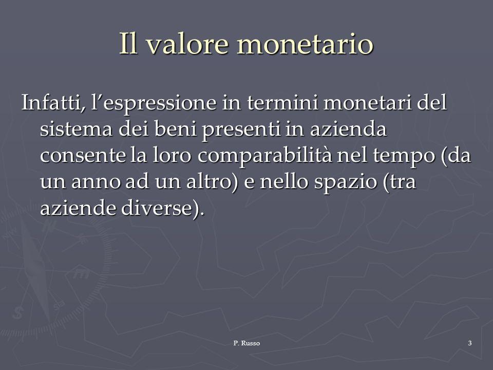 P. Russo3 Il valore monetario Infatti, lespressione in termini monetari del sistema dei beni presenti in azienda consente la loro comparabilità nel te
