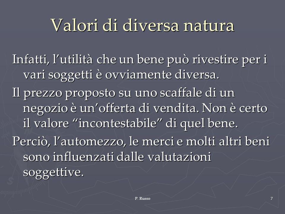P. Russo7 Valori di diversa natura Infatti, lutilità che un bene può rivestire per i vari soggetti è ovviamente diversa. Il prezzo proposto su uno sca