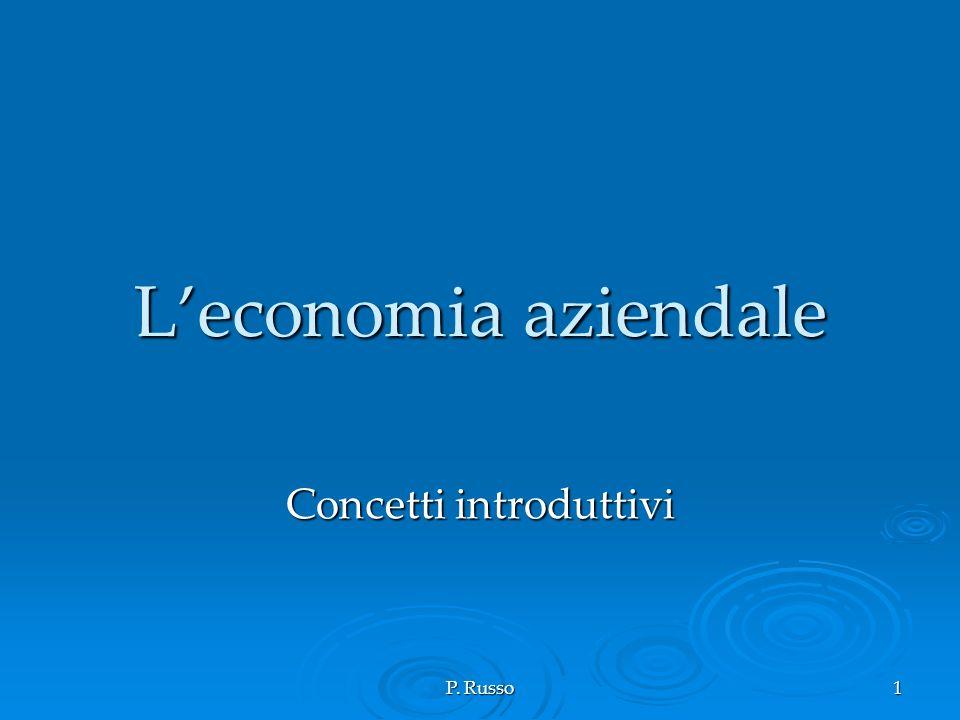 P. Russo 1 Leconomia aziendale Concetti introduttivi