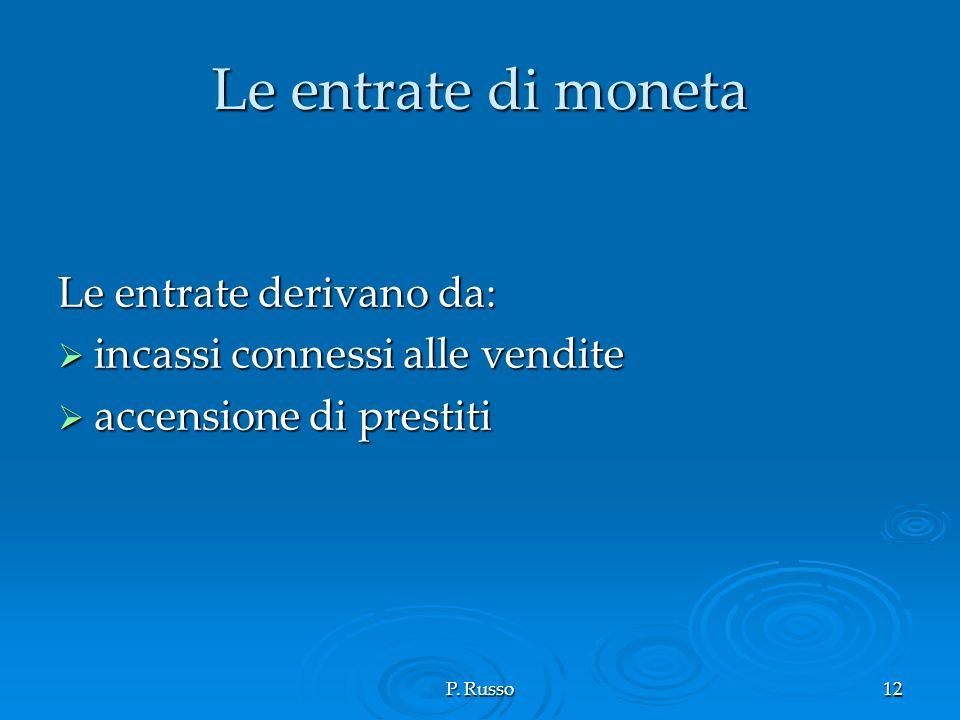 P. Russo12 Le entrate di moneta Le entrate derivano da: incassi connessi alle vendite incassi connessi alle vendite accensione di prestiti accensione