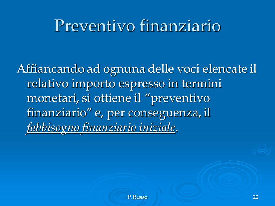 P. Russo22 Preventivo finanziario Affiancando ad ognuna delle voci elencate il relativo importo espresso in termini monetari, si ottiene il preventivo