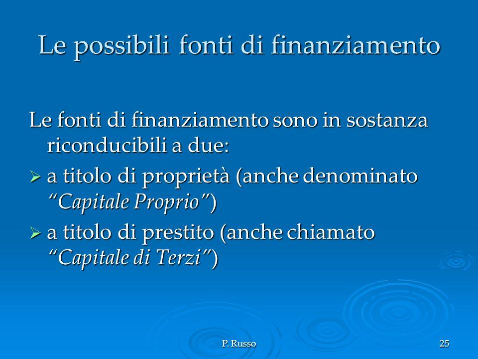 P. Russo25 Le possibili fonti di finanziamento Le fonti di finanziamento sono in sostanza riconducibili a due: a titolo di proprietà (anche denominato