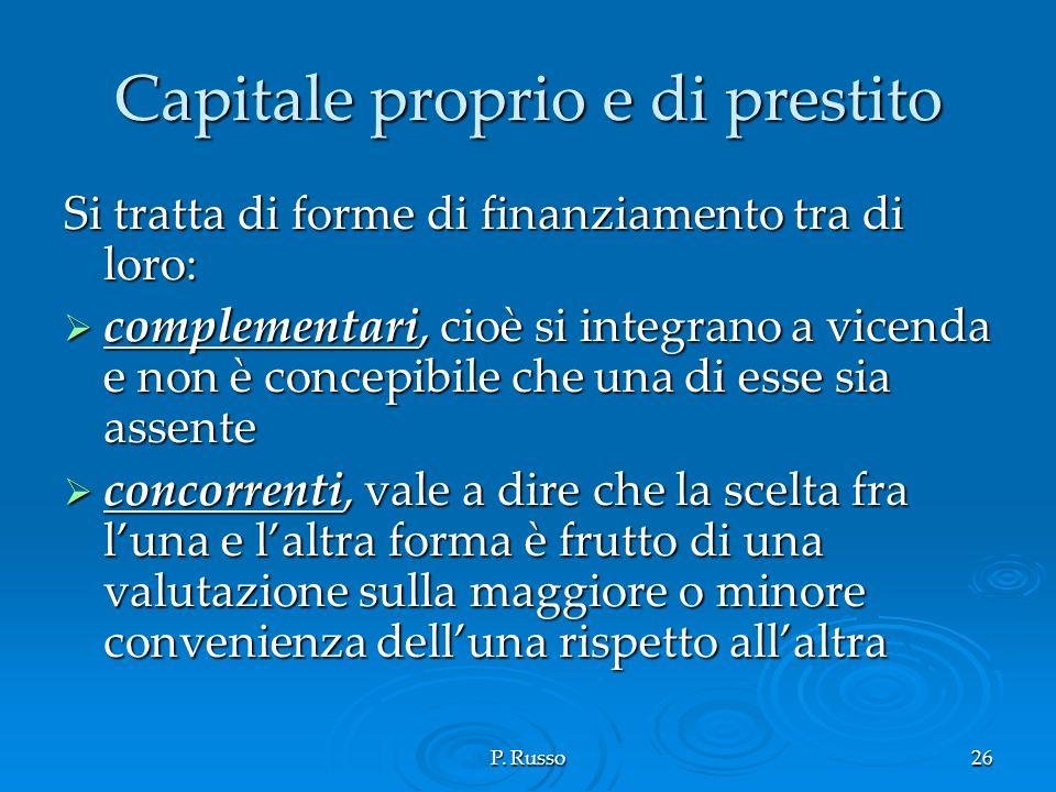 P. Russo26 Capitale proprio e di prestito Si tratta di forme di finanziamento tra di loro: complementari, cioè si integrano a vicenda e non è concepib