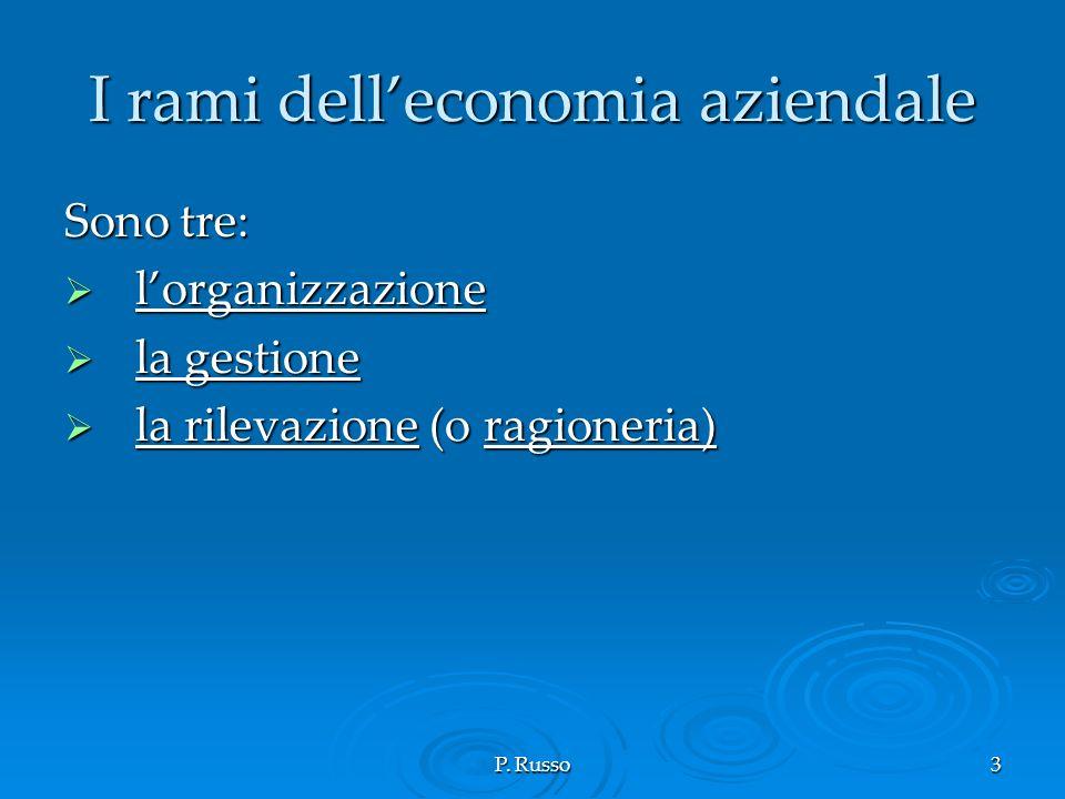 P. Russo3 I rami delleconomia aziendale Sono tre: lorganizzazione lorganizzazione la gestione la gestione la rilevazione (o ragioneria) la rilevazione