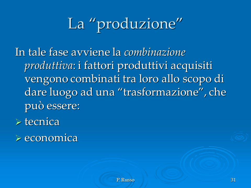 P. Russo31 La produzione In tale fase avviene la combinazione produttiva: i fattori produttivi acquisiti vengono combinati tra loro allo scopo di dare