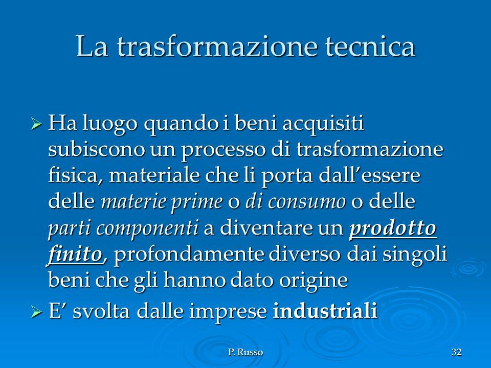 P. Russo32 La trasformazione tecnica Ha luogo quando i beni acquisiti subiscono un processo di trasformazione fisica, materiale che li porta dallesser