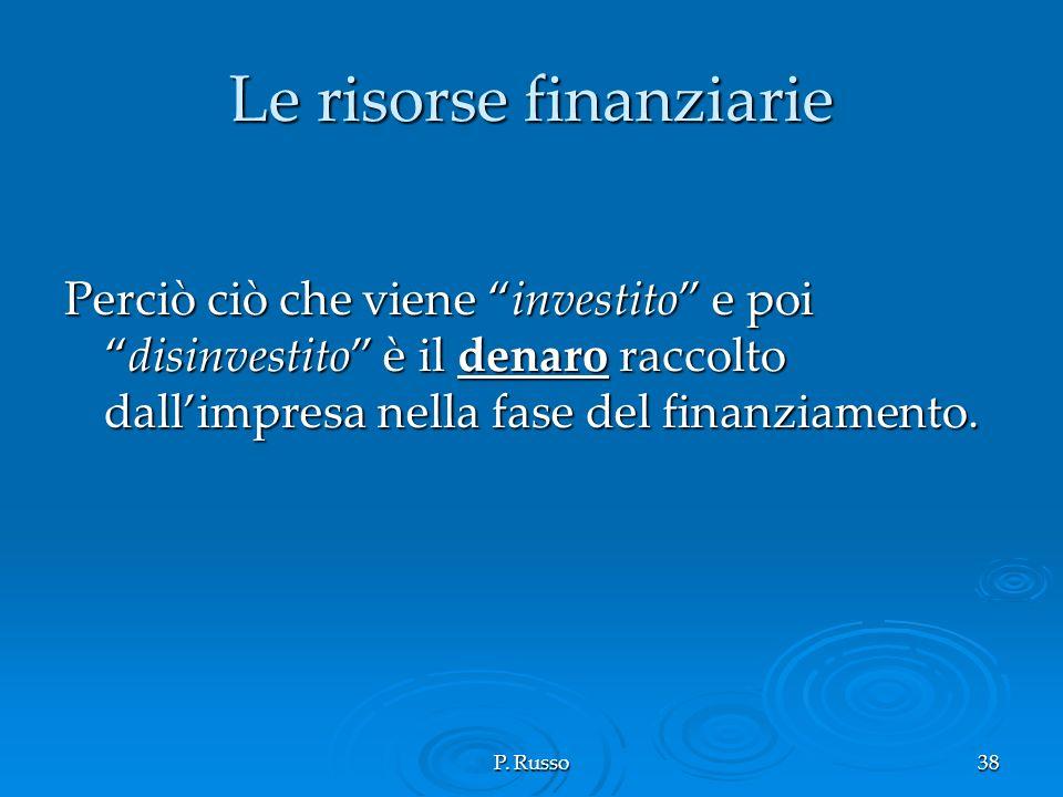 P. Russo38 Le risorse finanziarie Perciò ciò che viene investito e poidisinvestito è il denaro raccolto dallimpresa nella fase del finanziamento.
