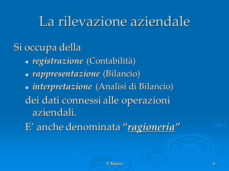 P. Russo6 La rilevazione aziendale Si occupa della registrazione (Contabilità) registrazione (Contabilità) rappresentazione (Bilancio) rappresentazion