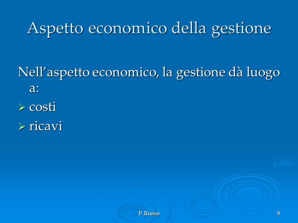 P. Russo8 Aspetto economico della gestione Nellaspetto economico, la gestione dà luogo a: costi costi ricavi ricavi