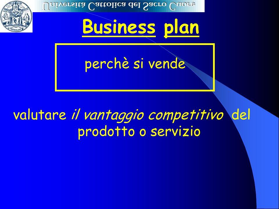 Business plan perchè si vende valutare il vantaggio competitivo del prodotto o servizio Perché si vende
