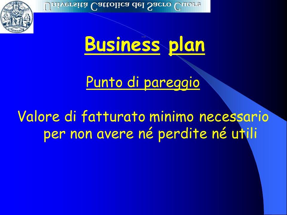 Business plan Punto di pareggio Valore di fatturato minimo necessario per non avere né perdite né utili Punto di pareggio