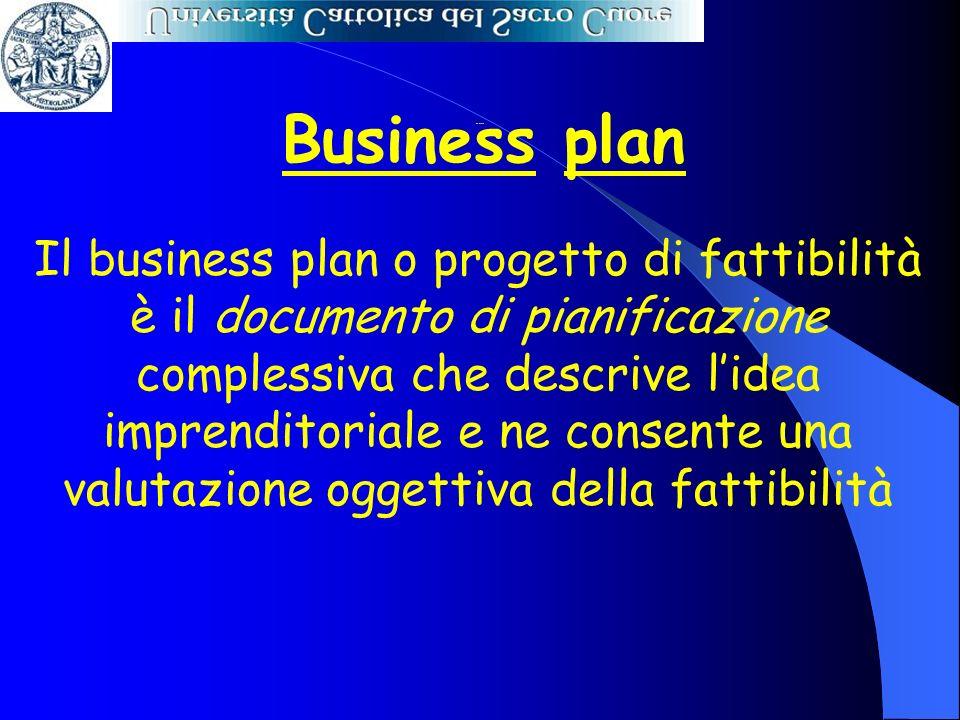 Business plan Il business plan o progetto di fattibilità è il documento di pianificazione complessiva che descrive lidea imprenditoriale e ne consente