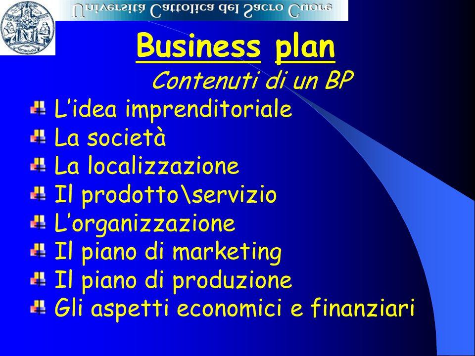 Business plan Contenuti di un BP Lidea imprenditoriale La società La localizzazione Il prodotto\servizio Lorganizzazione Il piano di marketing Il pian