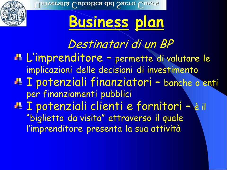 Business plan Destinatari di un BP Limprenditore – permette di valutare le implicazioni delle decisioni di investimento I potenziali finanziatori – ba