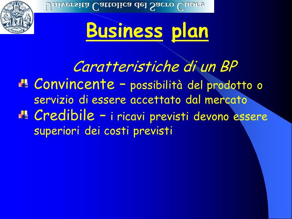 Business plan Caratteristiche di un BP Convincente – possibilità del prodotto o servizio di essere accettato dal mercato Credibile – i ricavi previsti