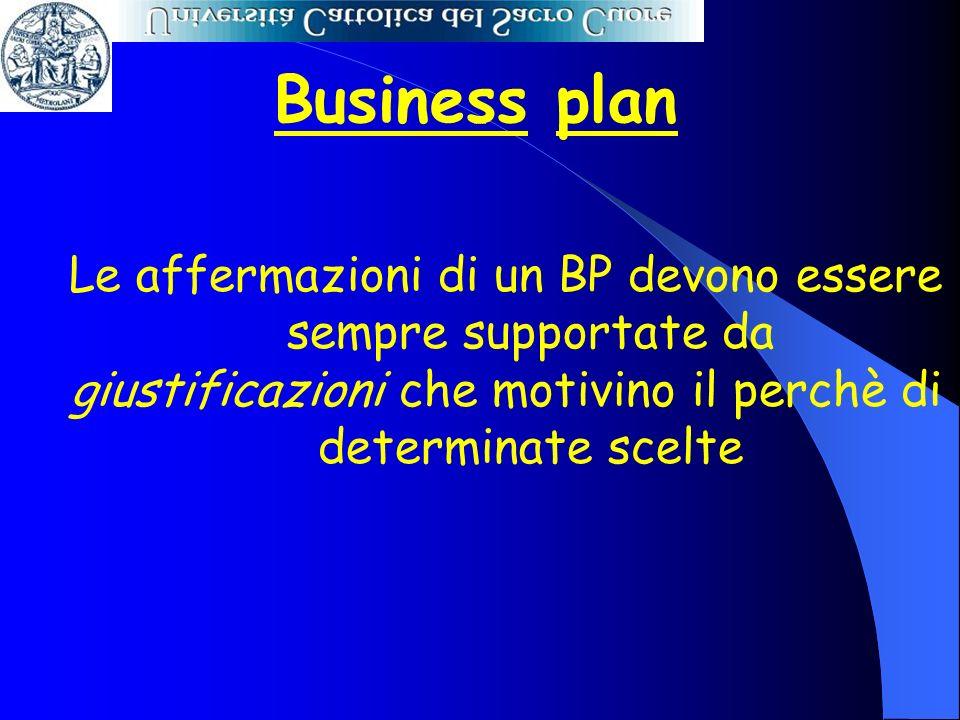 Business plan Le affermazioni di un BP devono essere sempre supportate da giustificazioni che motivino il perchè di determinate scelte Scelte motivate