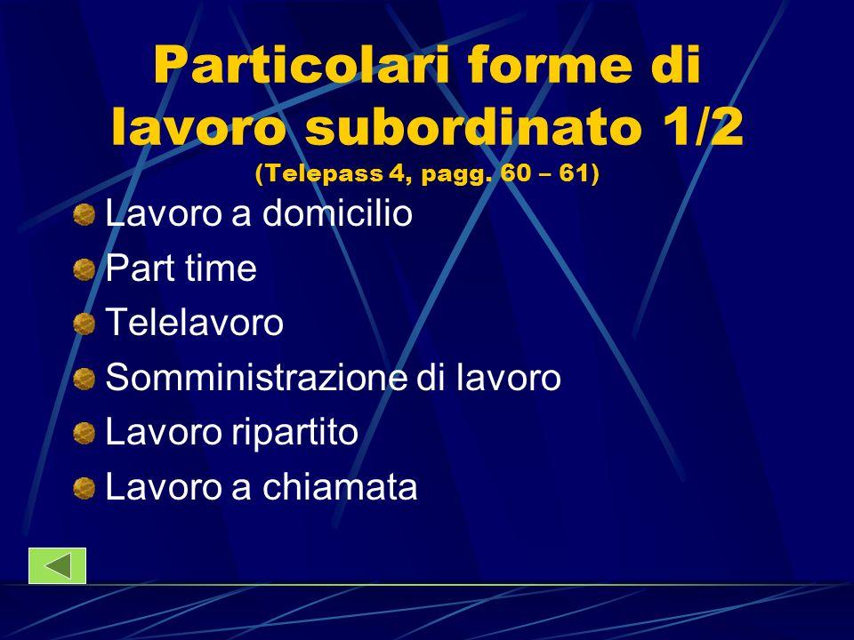 Particolari forme di lavoro subordinato 1/2 (Telepass 4, pagg. 60 – 61) Lavoro a domicilio Part time Telelavoro Somministrazione di lavoro Lavoro ripa
