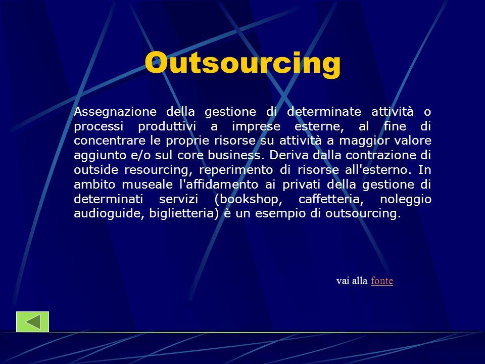 Outsourcing Assegnazione della gestione di determinate attività o processi produttivi a imprese esterne, al fine di concentrare le proprie risorse su