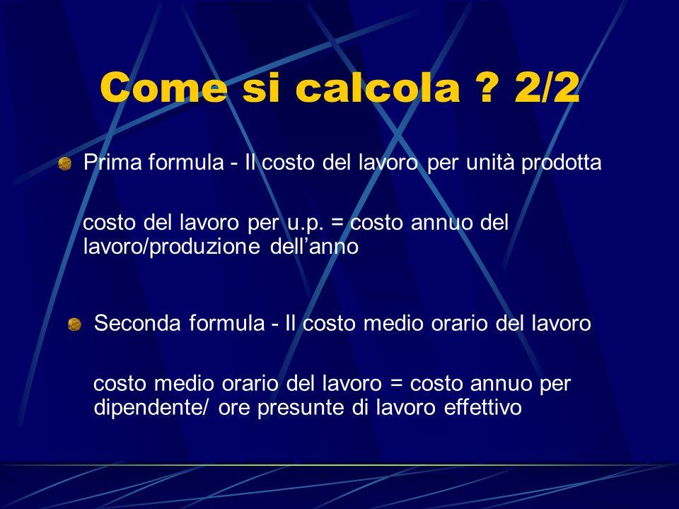 Come si calcola ? 2/2 Prima formula - Il costo del lavoro per unità prodotta costo del lavoro per u.p. = costo annuo del lavoro/produzione dellanno Se