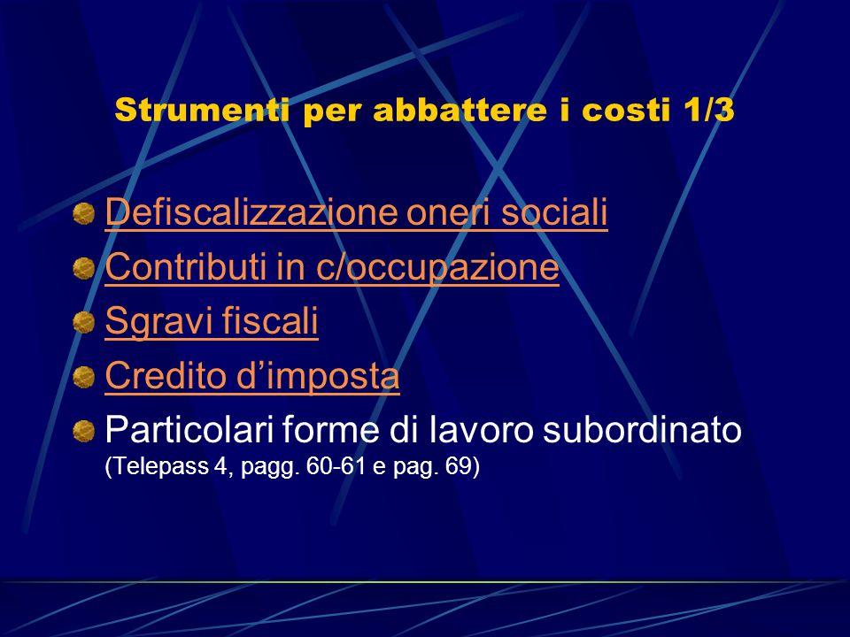 Strumenti per abbattere i costi 1/3 Defiscalizzazione oneri sociali Contributi in c/occupazione Sgravi fiscali Credito dimposta Particolari forme di l