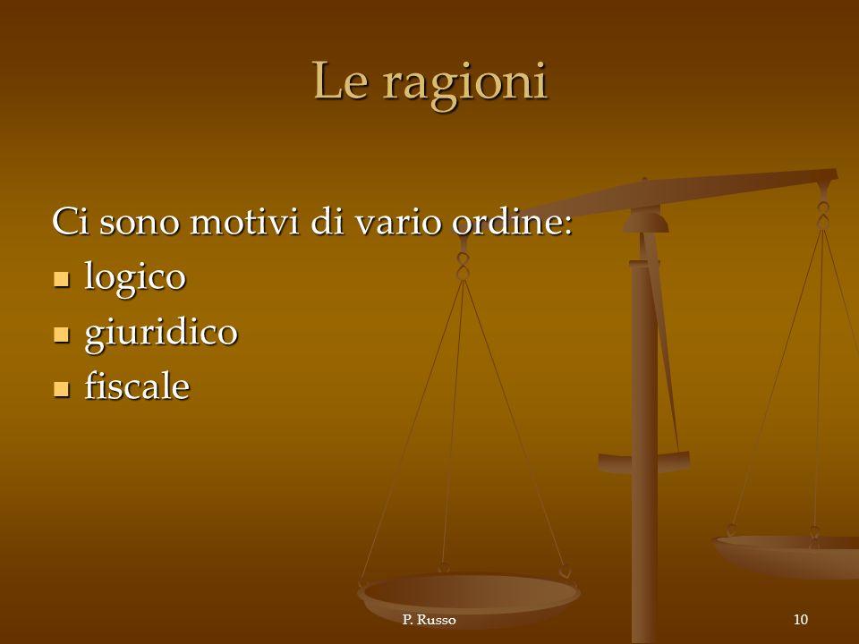 P. Russo10 Le ragioni Ci sono motivi di vario ordine: logico logico giuridico giuridico fiscale fiscale