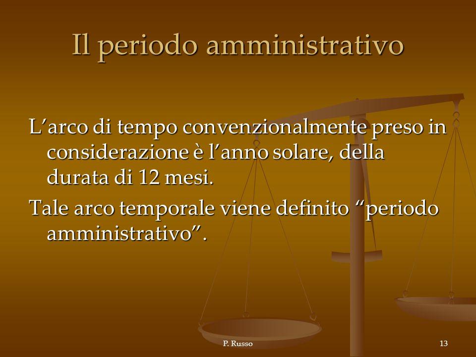 P. Russo13 Il periodo amministrativo Larco di tempo convenzionalmente preso in considerazione è lanno solare, della durata di 12 mesi. Tale arco tempo