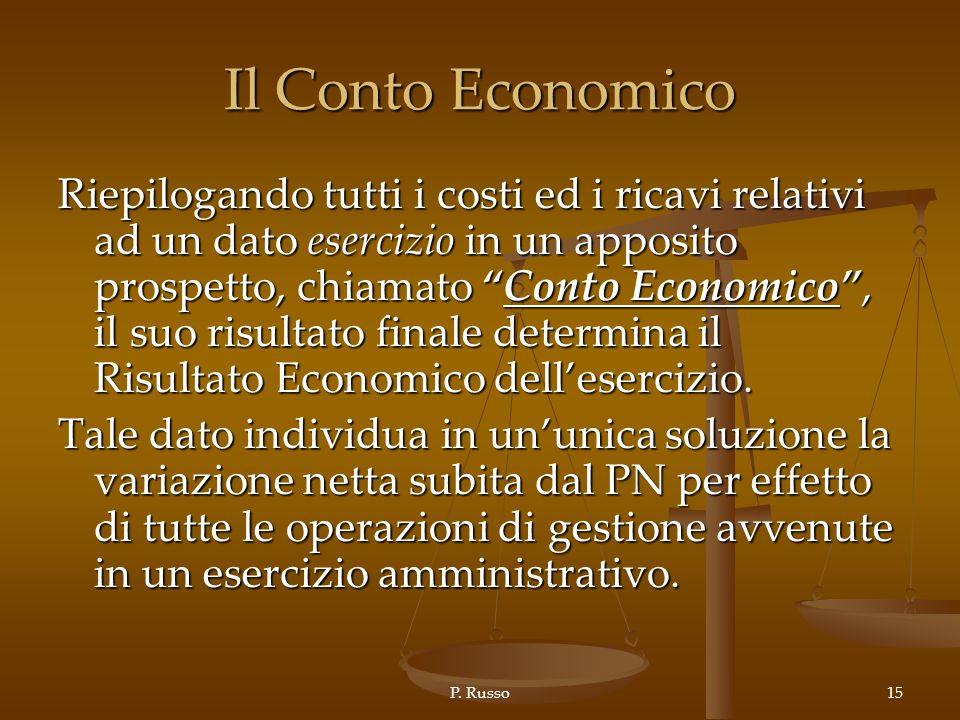 P. Russo15 Il Conto Economico Riepilogando tutti i costi ed i ricavi relativi ad un dato esercizio in un apposito prospetto, chiamato Conto Economico,