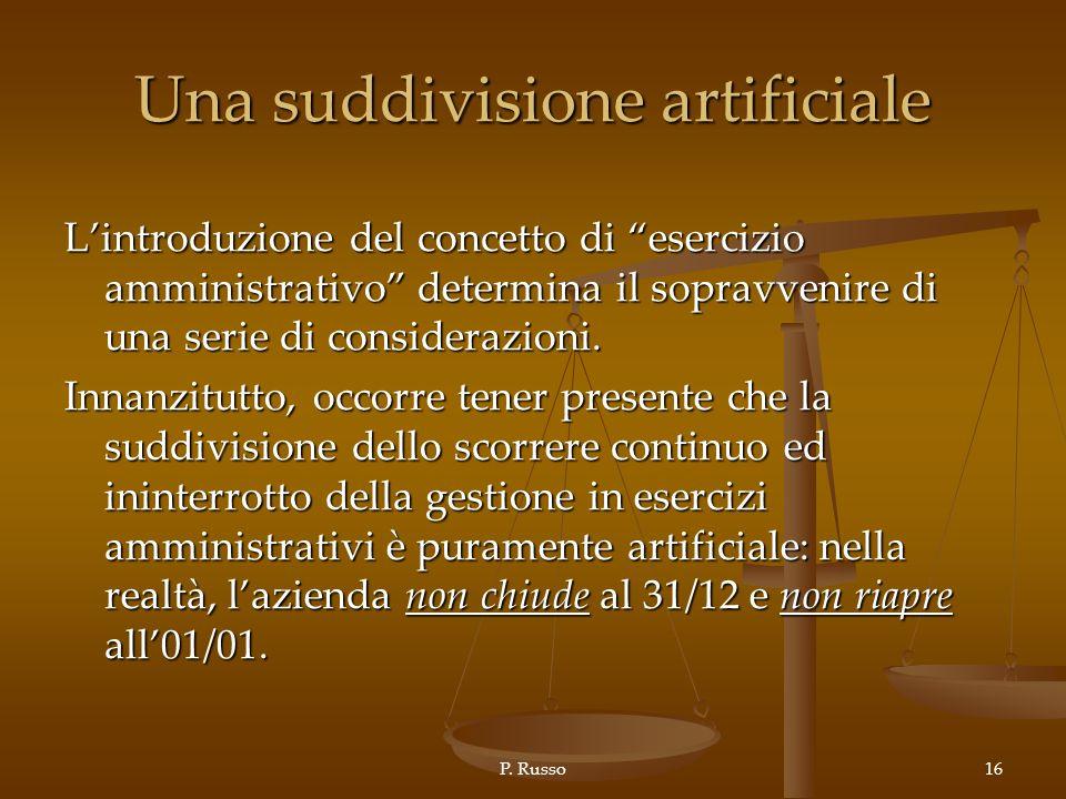 P. Russo16 Una suddivisione artificiale Lintroduzione del concetto di esercizio amministrativo determina il sopravvenire di una serie di considerazion