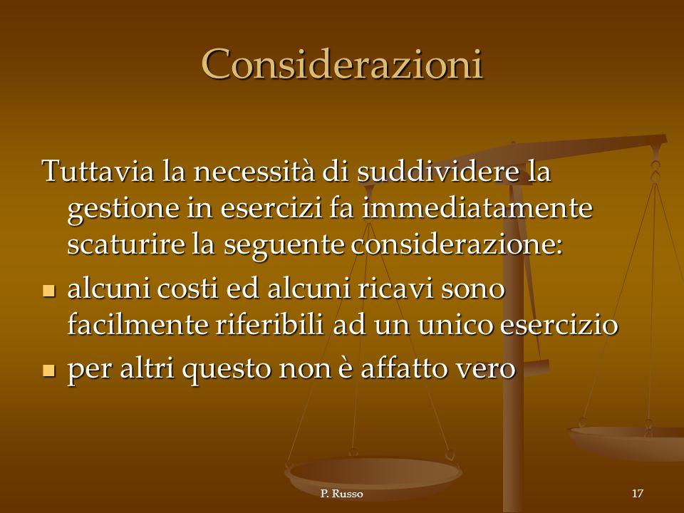 P. Russo17 Considerazioni Tuttavia la necessità di suddividere la gestione in esercizi fa immediatamente scaturire la seguente considerazione: alcuni